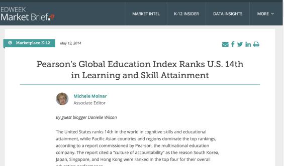 pearson US ranking